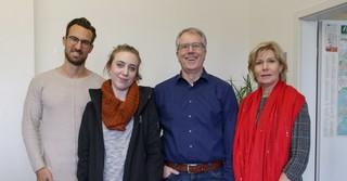 (v.l.) Auf der Pressestelle des Polizeipräsidiums Südosthessen: Alexander Schlüter, Lena Eberhardt, Michael Malkmus und Andrea Ackermann