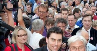 Mit dem damaligen Außenmister und Kanzlerkandidaten Frank-Walter Steinmeier bei einer Wahlkampfveranstaltung 2009 in Erlensee